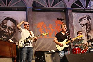 Eric Lindell - Eric Lindell and Anson Funderburgh perform in the Blues Tent at the 2014 New Orleans Jazz Fest