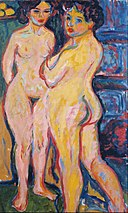 Ernst Ludwig Kirchner - Nudes Standing by Stove - Google Art Project.jpg