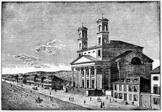 The first church St. Bonifatius, 1830, collapsed on 11 February 1831 Erste Bonifatiuskirche Wiesbaden.png