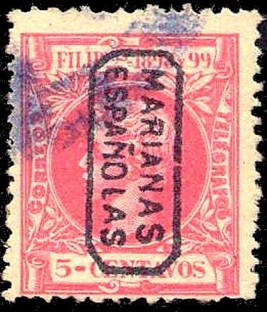 Estampilla española de las Islas Marianas 5 cent 1898-99
