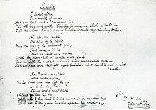 Poème manuscrit portant le titre d'Eulalie
