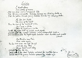 "Eulalie - Original manuscript for ""Eulalie"" with Poe's signature"