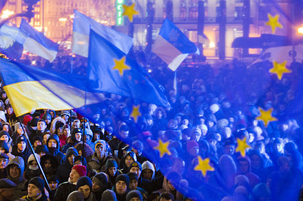Pro-EU demonstration in Kiev, 27 November 2013, during the Euromaidan protests Euromaidan 01.JPG