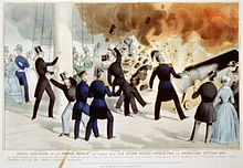 "Historical illustration of the Princeton cannon explosion, with dozens of guests aboard. Caption reads ""Awful explosion of the Peace-Maker on board the U.S. steam frigate Princeton."""