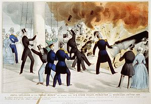 USS Princeton (1843) - Contemporary Currier & Ives lithograph depicting the explosion