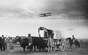 Ezra Meeker arrives in Los Angeles area by oxcart to witness first great airmeet, 1910 (CHS-105).jpg