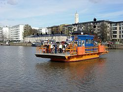 The Föri, one of Turku's best known landmarks, is a small ferry carrying pedestrians and bicycles across the Aura river.