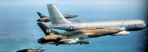 Takhli Royal Thai Air Force Base - F-105s from the 354th and 333d TFS refueling from a Takhli KC-135