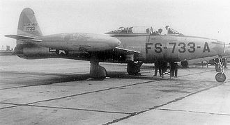 England Air Force Base - Republic F-84G-1-RE Thunderjet Serial 51-733 from the 27th Fighter Escort Wing(SAC)taken during Operation Fox Peter Two in October 1952)