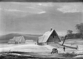 Vinterlandskab med to gårde ved en tilfrossen å