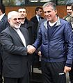 FM Zarif in Iran national football team training before 2014 FIFA World Cup 02.jpg