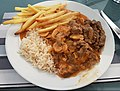Falmouth June 2018 - Beef Strogonoff with rice & french fries (41620431025).jpg