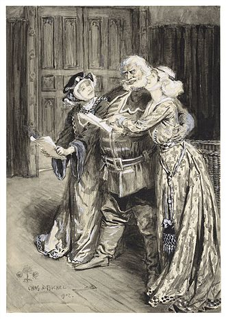 Madge Kendal - Illustration for 1902 revival, featuring Ellen Terry as Mistress Page, Kendal as Mistress Ford, and Herbert Beerbohm Tree as Falstaff