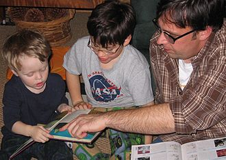 Parenting styles - Father and children reading