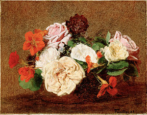 Tropaeolum majus - Roses and Nasturtiums in a Vase by Henri Fantin-Latour