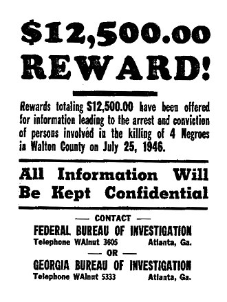 Moore's Ford lynchings - An FBI poster asking the public for information on the 1946 Georgia lynching at Moore's Ford Bridge