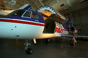 Dassault Falcon 20 - Federal Express Falcon 20 N8FE (cn199) with custom 6' wide cargo door on display at the Smithsonian