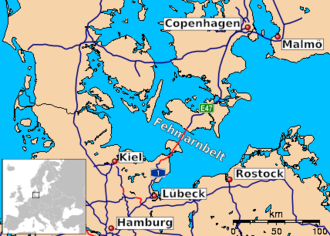 Fehmarn Belt Fixed Link - Map showing the planned Fehmarn Belt Fixed Link in the Danish–German highway system