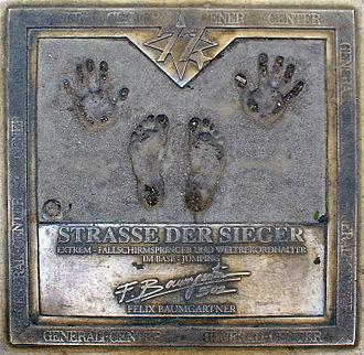 Felix Baumgartner - Tribute to Baumgartner in Straße der Sieger, Mariahilfer Street, Vienna, Austria