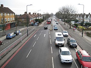 Red route - the A312 Uxbridge road marked with double red lines