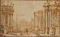 Ferdinando Galli Bibiena - Klasicistična arh. s kupolasto stavbo v ozadju.jpg