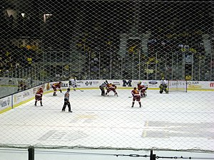 Power play (sporting term) - The Ferris State Bulldogs on a 5-on-3 power play against the Michigan Wolverines.