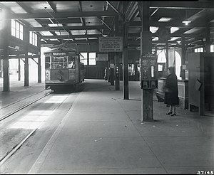 Andrew (MBTA station) - Image: Fields Corner trolley at Andrew Square station, 1940s