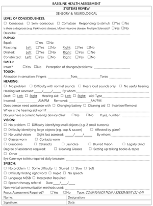 nursing documentation figure 2 2 a sample nursing assessment form for an australian - Pflegestandards Beispiele