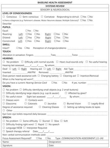 sample nursing assessment