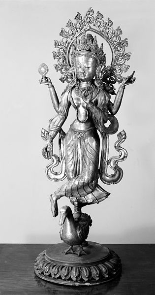 File:Figure of Saraswati, Hindu Goddess, standing on a duck Wellcome M0012561.jpg