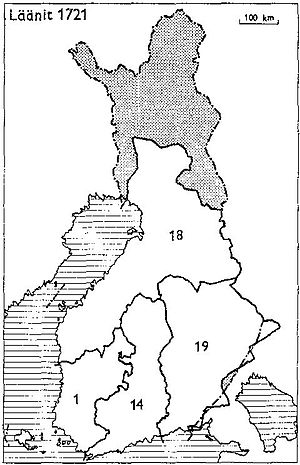 Provinces of Finland - Provinces of Finland 1721: 1: Turku and Pori, 14: Nyland and Tavastehus, 18: Ostrobothnia, 19: Kymmenegård and Nyslott