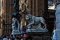 Firenze - Florence - Piazza della Signoria - View ESE on Cellini's Medusa 1554 & Flaminio Vacca's Lion 1598.jpg