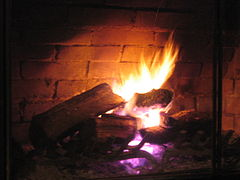 Fireplace with purple flame