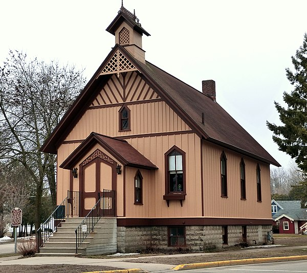 The first Christian Science church building was the First Church of Christ, Scientist, Oconto, Wisconsin, erected in 1886. First Church of Christ Scientist - Oconto Wisconsin.jpg