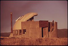 First Experimental House Completed near Taos, New Mexico Using Empty Steel Beer and Soft Drink Cans. (3815851840).jpg