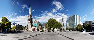Cathedral Square, Christchurch - Christchurch Cathedral Square panorama from January 2010