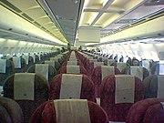 Interior of Qatar Airways flight