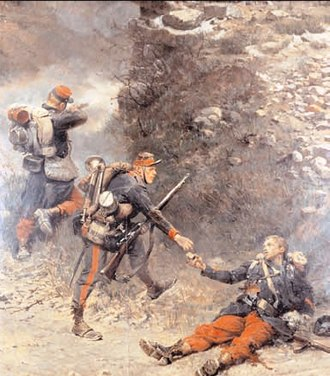Battle of Villiers - Le fond de la Giberne, 1882, by Alphonse de Neuville. A dying French infantryman gives his last cartridges to a clairon