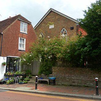 Bethel Strict Baptist Chapel, Robertsbridge - The chapel stands behind a shop on Robertsbridge High Street.