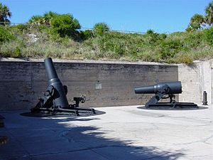 Fort De Soto Park - Two of the four 12-inch M1890-M1 mortars