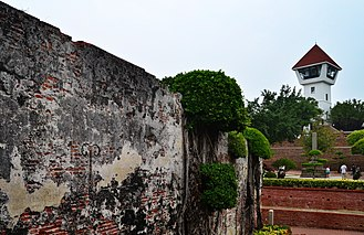 Wall of Fort Zeelandia, Anping District, Tainan City. Established in 1624, Tainan is the oldest urban area on the island of Taiwan. Fort Zeelandia, Anping District, Tainan City (Taiwan).jpg