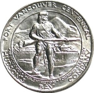 Fort Vancouver Centennial half dollar - Image: Fort vancouver half dollar commemorative reverse