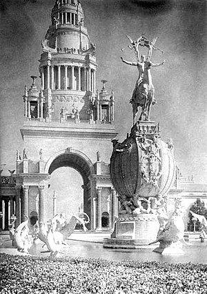 Tower of Jewels (PPIE) - Image: Fountain of Energy and Tower of Jewels 1915