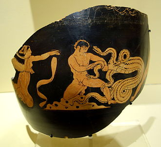 Dragon - Greek red-figure vase painting depicting Heracles slaying the Lernaean hydra, c. 375-340 BC