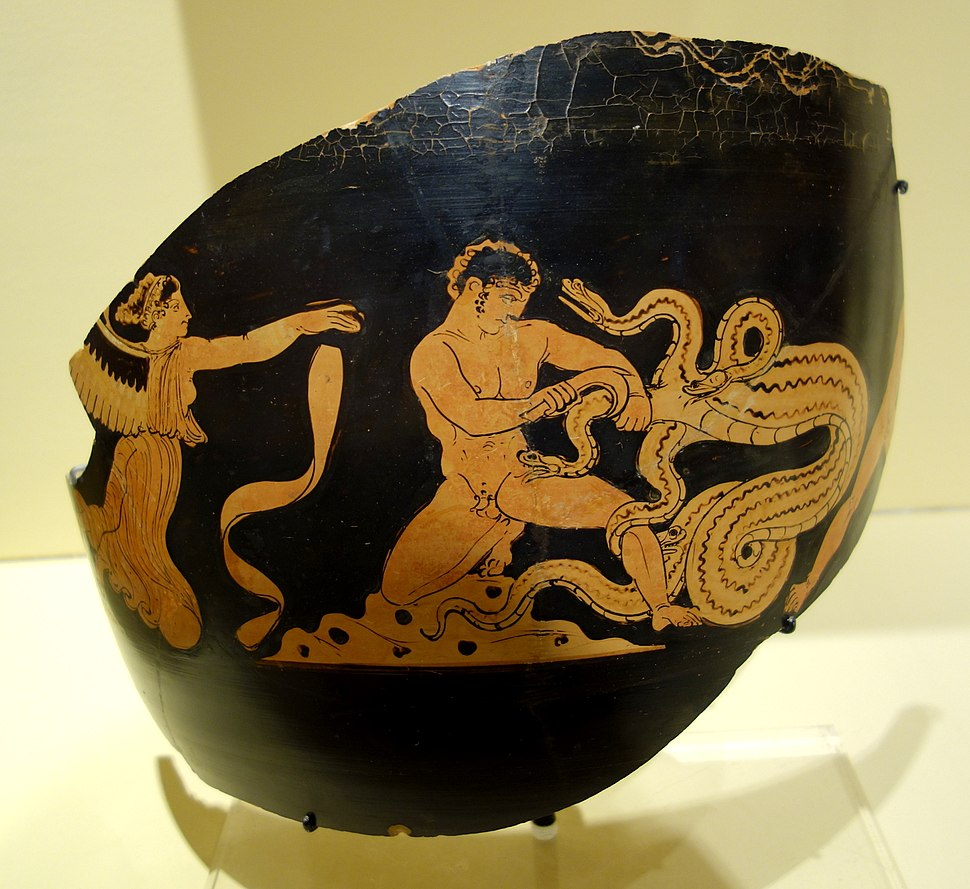 Fragmentary jar with scene of Herakles slaying the Hydra of Lerna, South Italy, 375-340 BC, ceramic - Fitchburg Art Museum - DSC08671