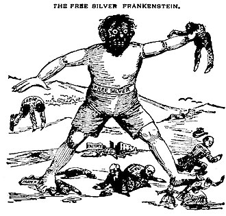 Free silver - 1896 editorial cartoon equating the free silver movement with Frankenstein's monster.