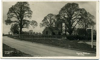 Longcot - Elm trees by St Mary's parish church, photographed in 1935 by Fred C. Palmer