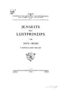 <i>Beyond the Pleasure Principle</i> 1920 essay by Sigmund Freud