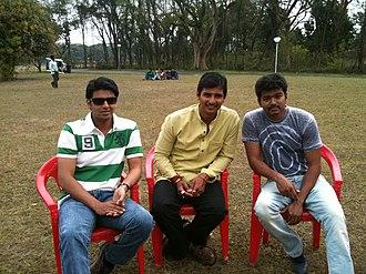Jiiva - From the sets of Nanban, (L-R) Srikanth, Jiiva and Thalapathy Vijay