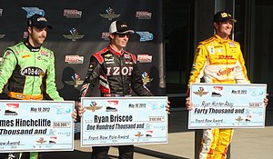 2012 Indianapolis 500 - Front-row qualifiers (L to R): James Hinchcliffe, Ryan Briscoe, and Ryan Hunter-Reay.